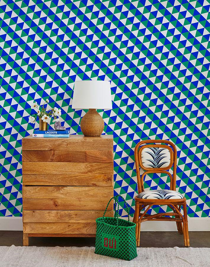 optic triangle wallpaper green blue