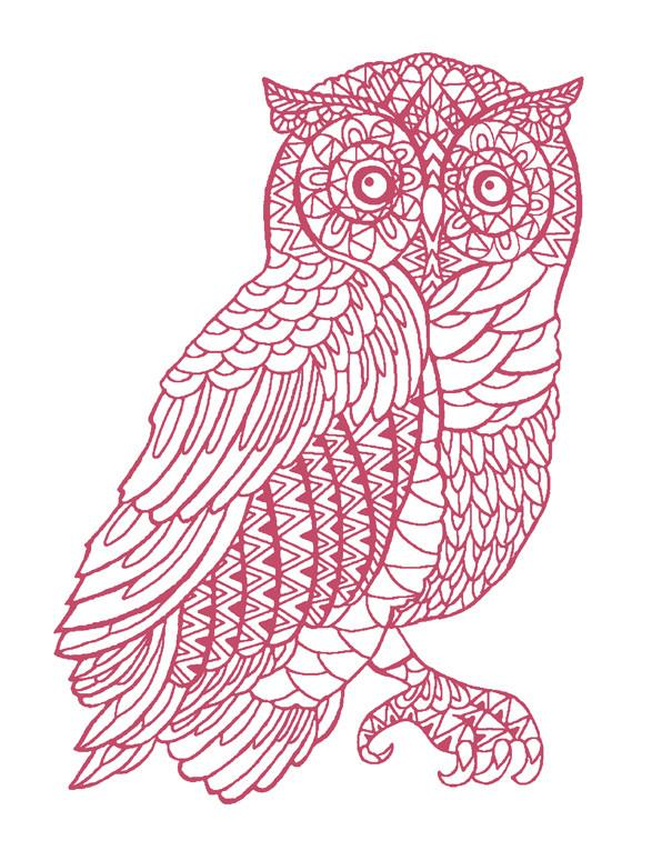 ... Owl wallpaper roll rose on white Detail