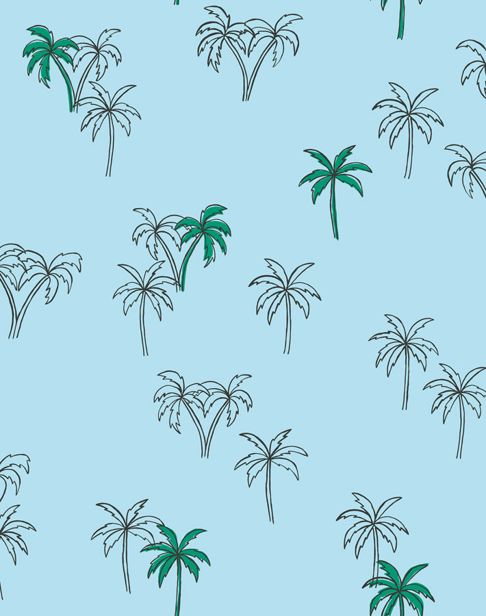 Palms Baby Blue  Wallpaper