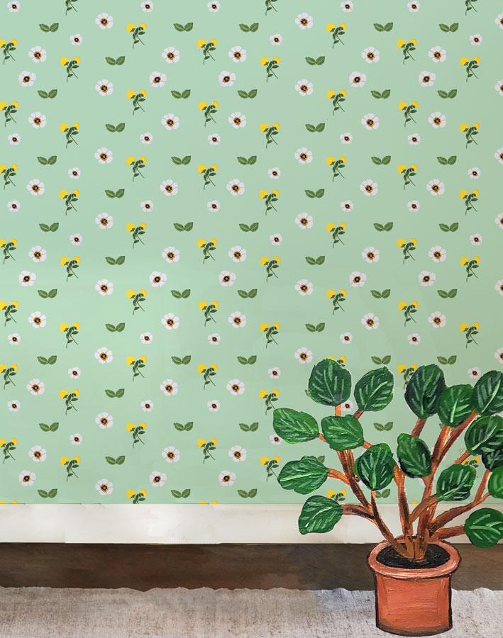 Parfumee Garden - Aventurine Wallpaper by Carly Beck - Wallshoppe Removable & Traditional Wallpaper