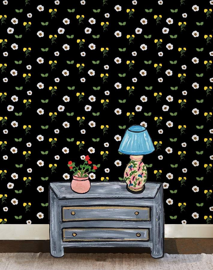 Parfumee Garden - Black Wallpaper by Carly Beck - Wallshoppe Removable & Traditional Wallpaper