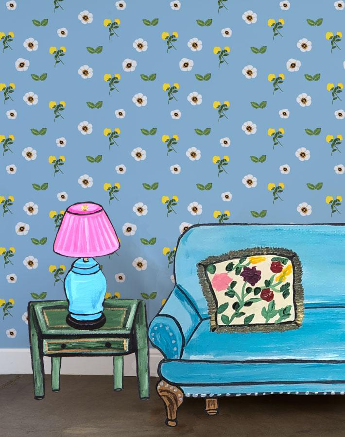 Parfumee Garden - Cornflower Wallpaper by Carly Beck - Wallshoppe Removable & Traditional Wallpaper