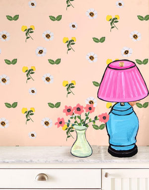 Parfumee Garden - Peach Wallpaper by Carly Beck - Wallshoppe Removable & Traditional Wallpaper