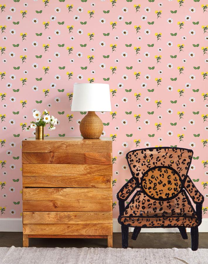 Parfumee Garden - Pink Wallpaper by Carly Beck - Wallshoppe Removable & Traditional Wallpaper