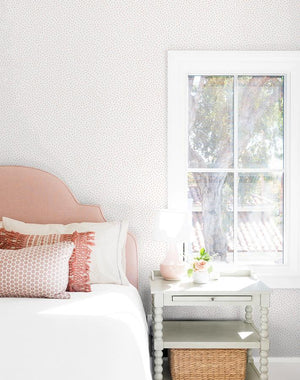 Pebble Pink On White  Wallpaper