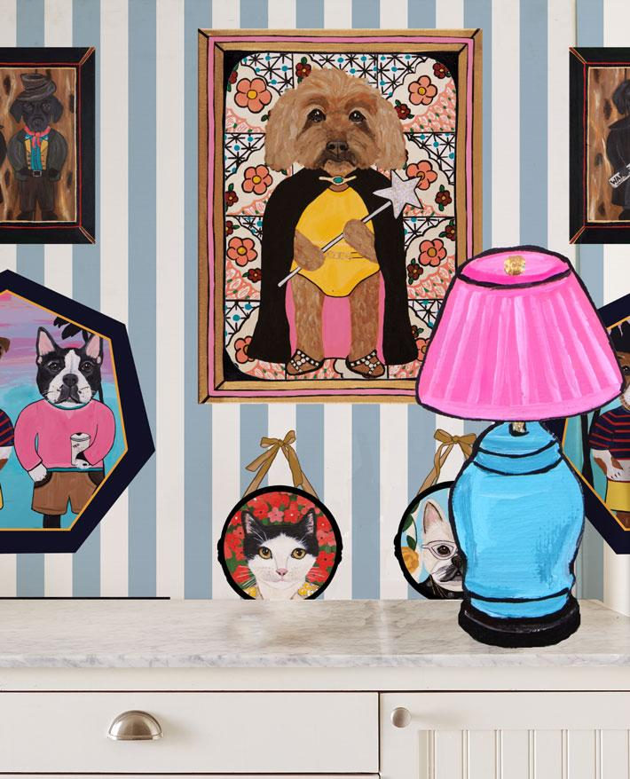 Pet Portrait Gallery - Blue Wallpaper by Carly Beck - Wallshoppe Removable & Traditional Wallpaper