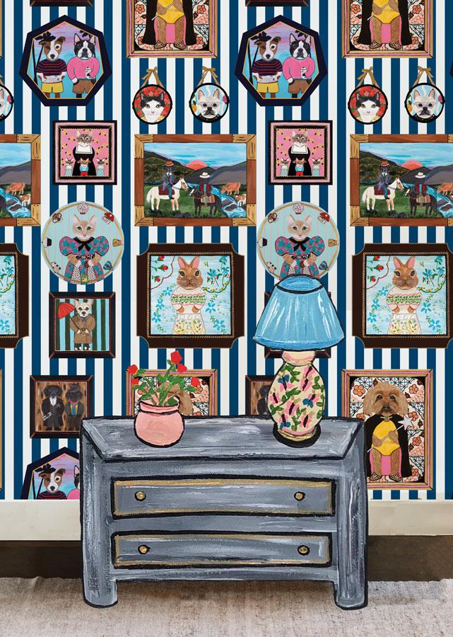 Pet Portrait Gallery - Navy Wallpaper by Carly Beck - Wallshoppe Removable & Traditional Wallpaper