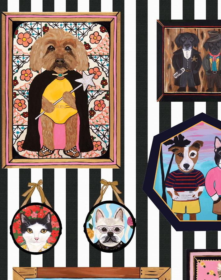 Pet Portrait Gallery - Black Wallpaper by Carly Beck - Wallshoppe Removable & Traditional Wallpaper