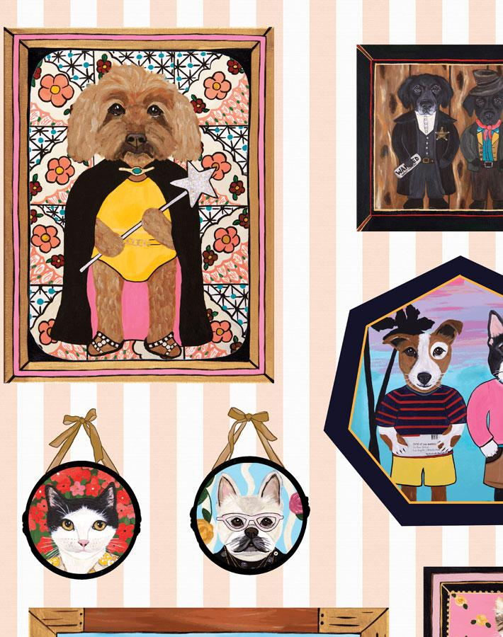 Pet Portrait Gallery - Peach Wallpaper by Carly Beck - Wallshoppe Removable & Traditional Wallpaper