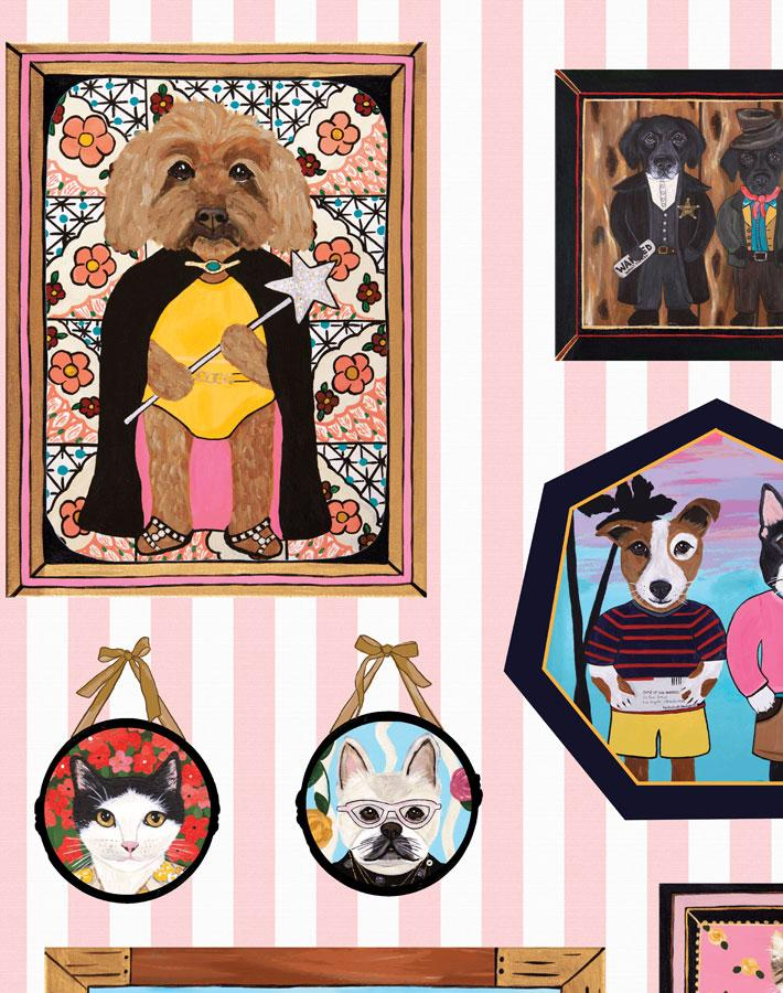 Pet Portrait Gallery - Pink Wallpaper by Carly Beck - Wallshoppe Removable & Traditional Wallpaper