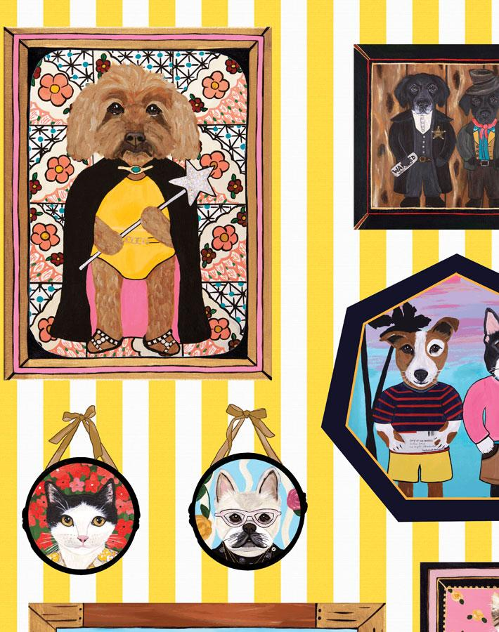 Pet Portrait Gallery - Yellow Wallpaper by Carly Beck - Wallshoppe Removable & Traditional Wallpaper