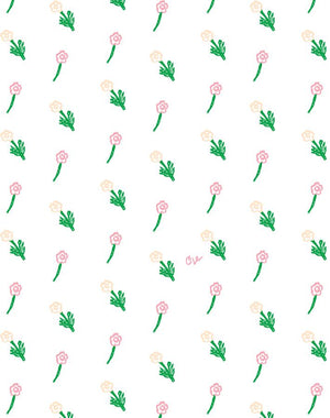 petit fleur wallpaper pink on white