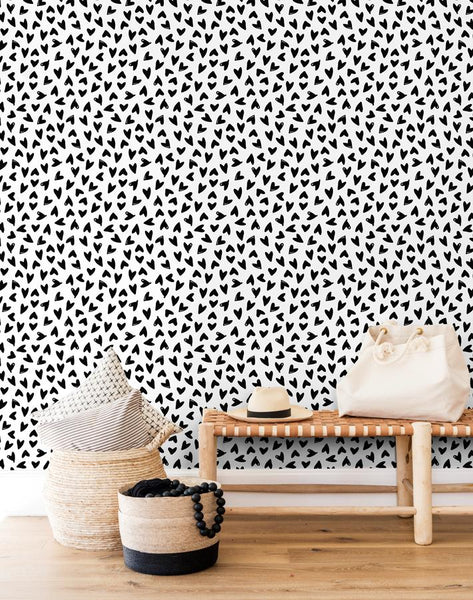 Hearts by Sugar Paper - Black on White - Wallshoppe