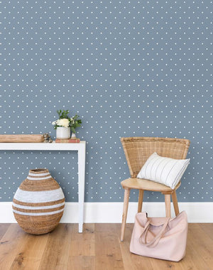 Polka Dot French Blue  Wallpaper