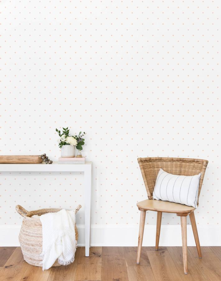 Polka Dot Pink On White  Wallpaper