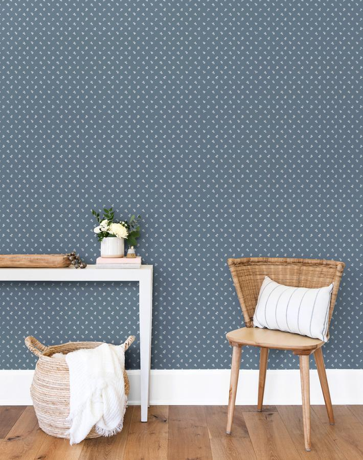 Teensy Floral French Blue  Wallpaper