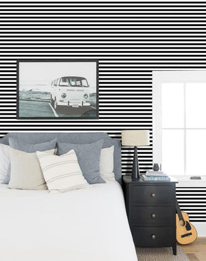 Cabana Stripe Black  Wallpaper