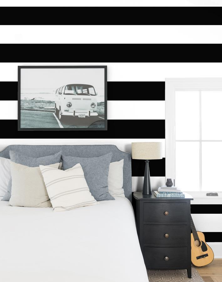 Rugby Stripe By Sugar Paper / Black / Wallshoppe  Wallpaper