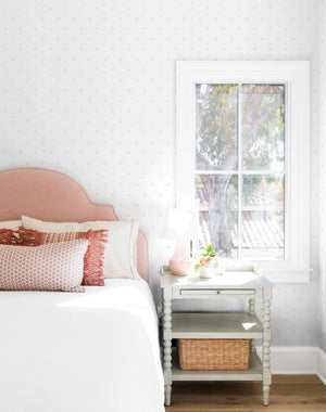 Dainty Dot Pink On White  Wallpaper