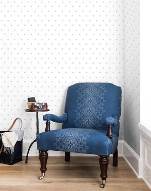 Dainty Dot French Blue On White  Wallpaper