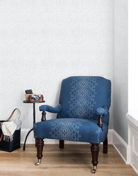 Pebble French Blue On White Wallpaper