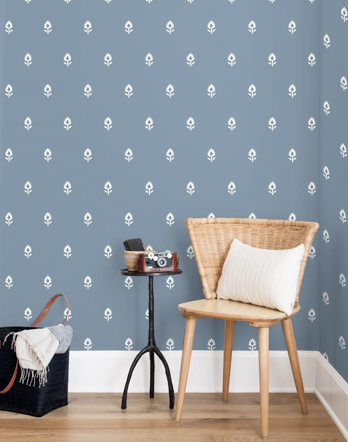 Block Print French Blue  Wallpaper