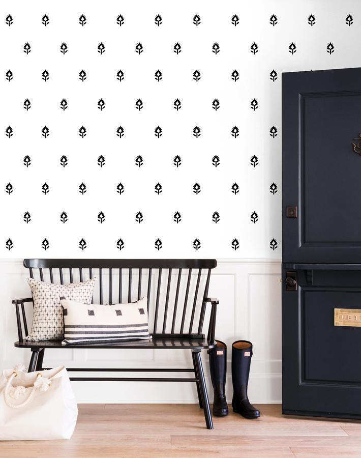 Block Print Removable Wallpaper - Black on White - Wallshoppe