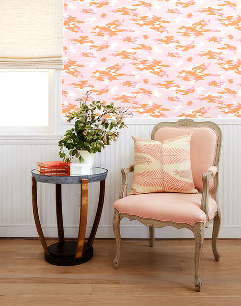 Camo Removable Wallpaper - Pink - Wallshoppe
