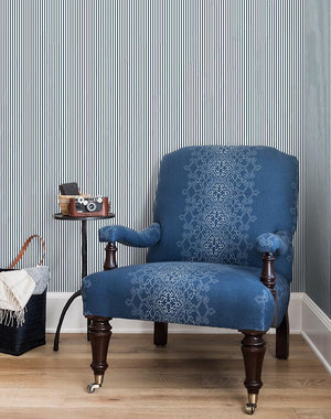 Pinstripe By Sugar Paper / Navy / Wallshoppe  Wallpaper