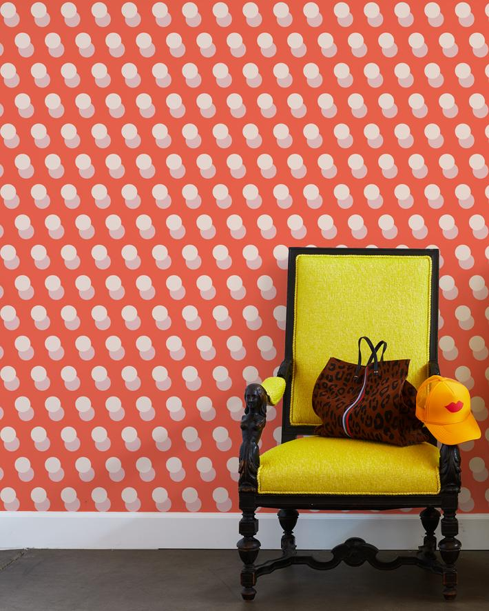 pop dots wallpaper retro red
