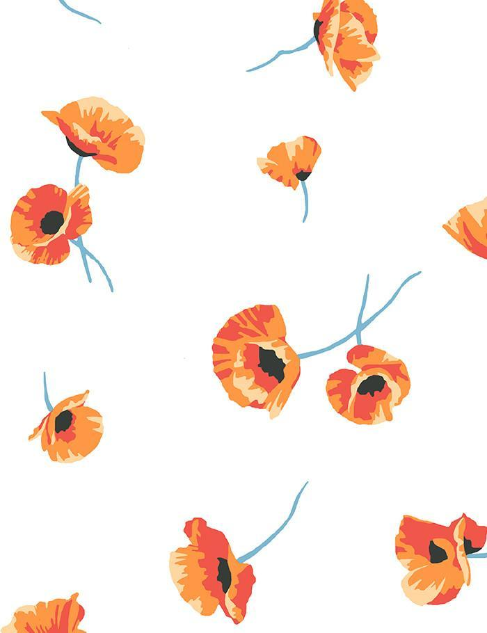 Poppy White Wallpaper