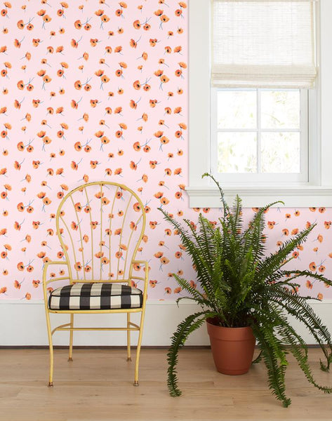 Poppy Wallpaper - Blush - Wallshoppe