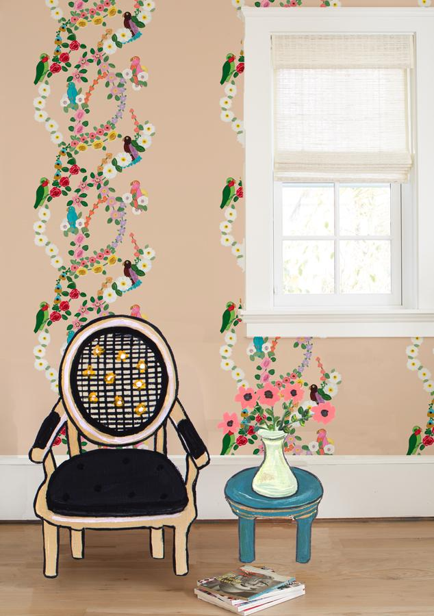 Rainbow Garden Stripe - Blush Wallpaper by Carly Beck - Wallshoppe Removable & Traditional Wallpaper