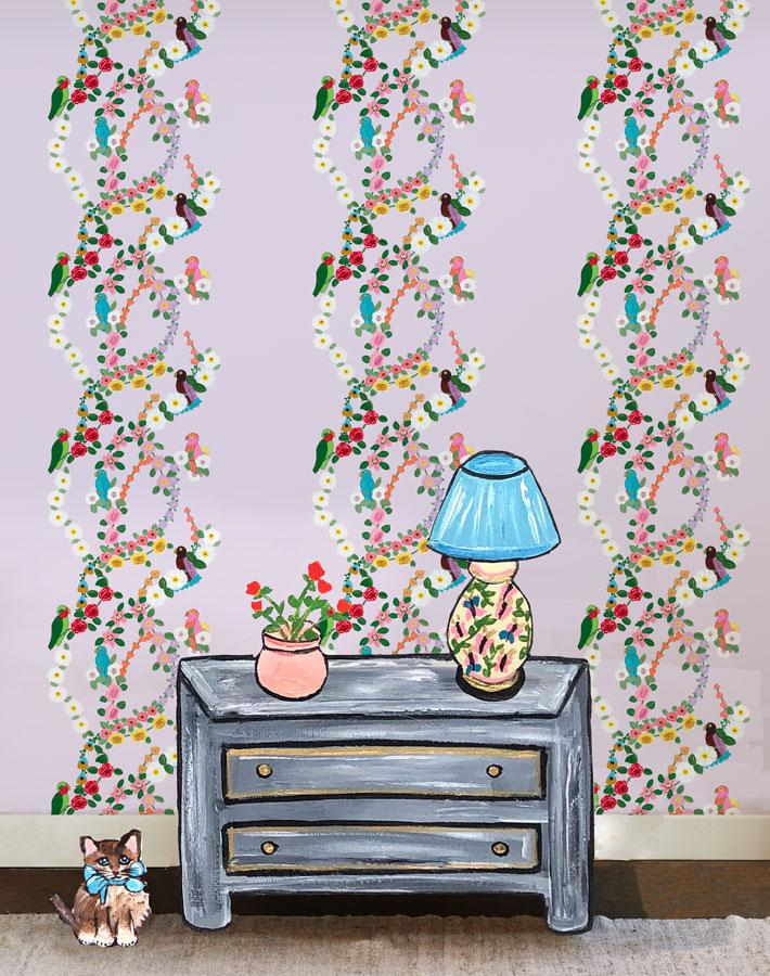 Rainbow Garden Stripe - Lilac Wallpaper by Carly Beck - Wallshoppe Removable & Traditional Wallpaper