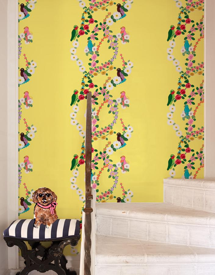 Rainbow Garden Stripe - Yellow Wallpaper by Carly Beck - Wallshoppe Removable & Traditional Wallpaper