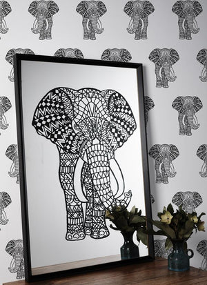 Artshoppe Raja the Black Elephant Mirror