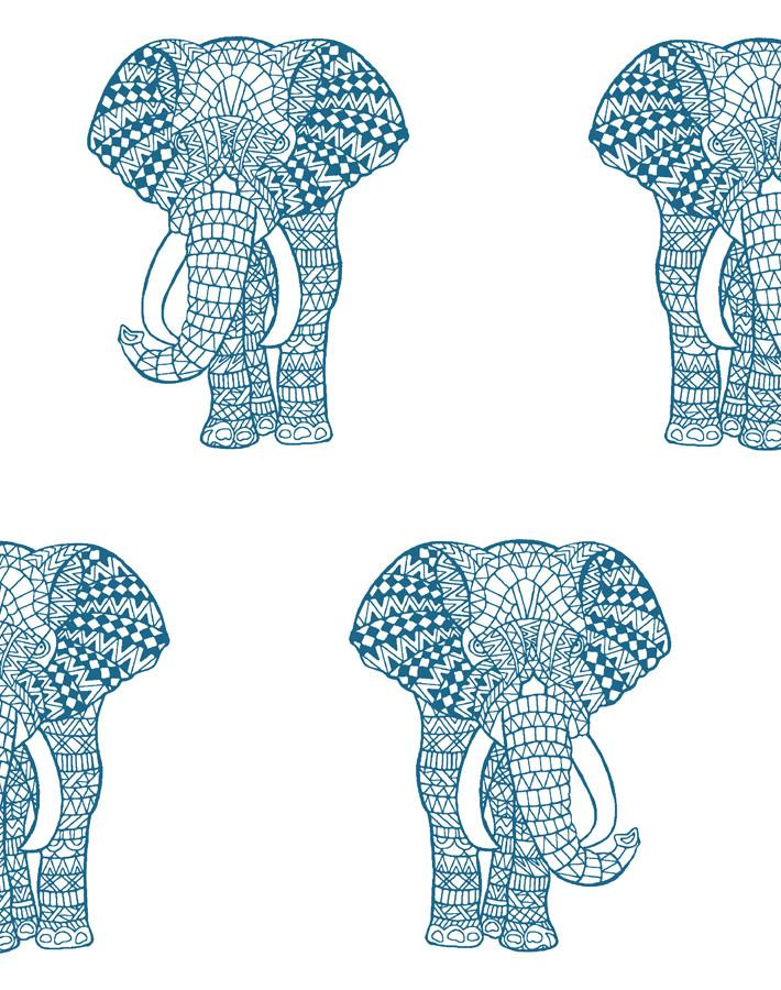Raja the Elephant Wallpaper - Cadet Blue