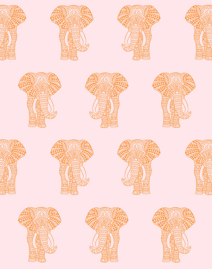 Raja The Elephant Pink  Wallpaper