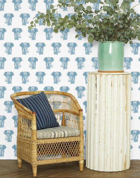 Raja the Elephant Wallpaper - Cadet Blue - Wallshoppe