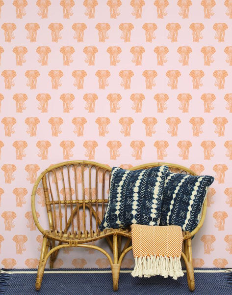 Raja the Elephant Wallpaper - Pink - Wallshoppe