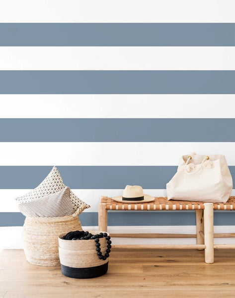 Rugby Stripe French Blue Wallpaper