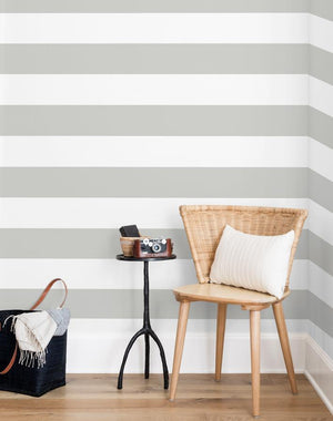 Rugby Stripe By Sugar Paper / Grey / Wallshoppe  Wallpaper