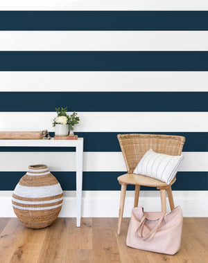 Rugby Stripe By Sugar Paper / Navy / Wallshoppe  Wallpaper