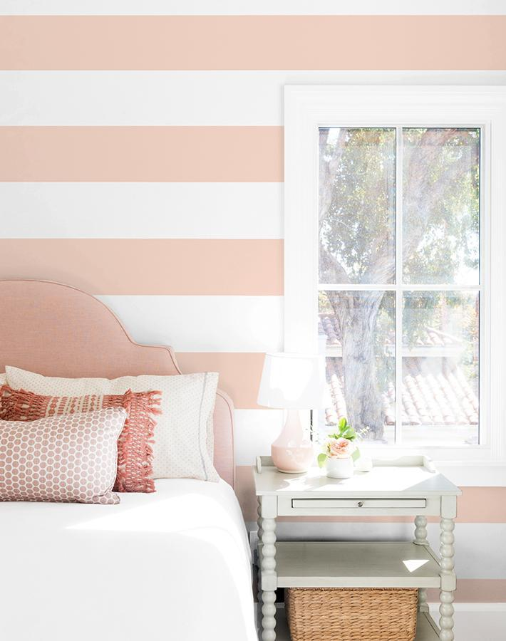 Rugby Stripe Pink  Wallpaper