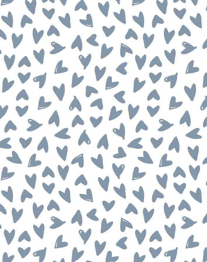 Hearts French Blue On White  Wallpaper