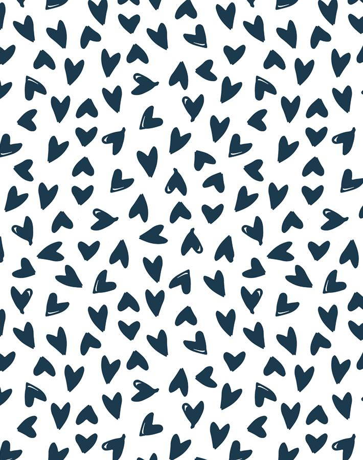 Hearts Navy On White  Wallpaper
