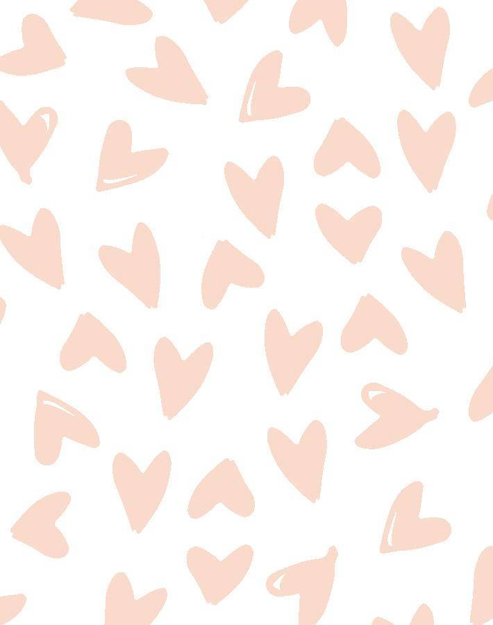 Hearts Pink On White Traditional Peel Stick Wallpaper