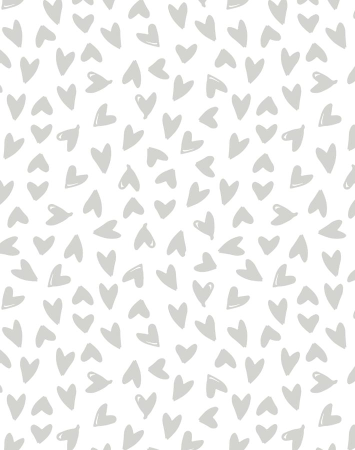 Hearts Grey On White  Wallpaper