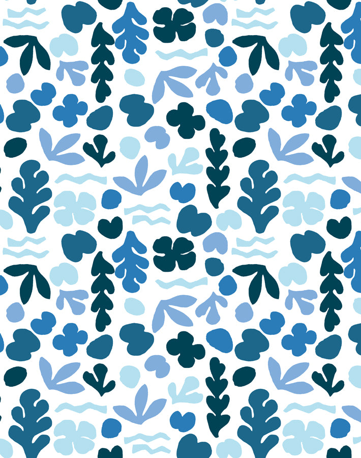 Sea Garden Small Blue  Wallpaper
