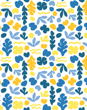 Sea Garden Small Gold Blue  Wallpaper